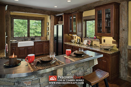 Log Home Post & Beam Kitchen | PrecisionCraft Log Homes