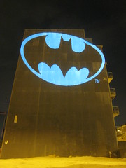 Batman Bat Signal, laser light graffiti, Barcelona