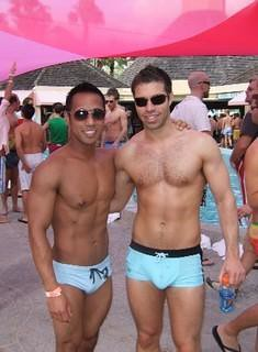 Gay days orlando! Tristan Jaxx and friend at the pool party at gay days at ...