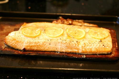 salmon grilled on a cedar plank    MG 2195