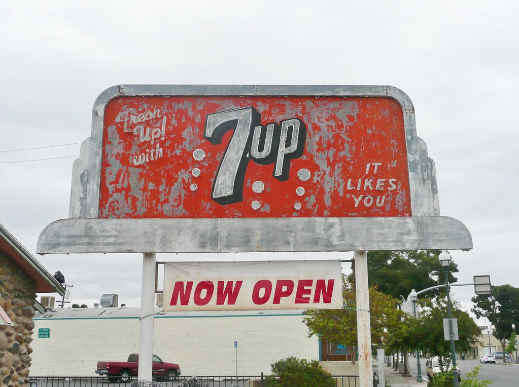 NEON 7UP BILLBOARD SIGN MARTIN LUTHER KING & MAIN ST. MERCED CALIF