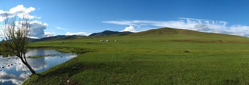 panorama mongolia transsiberian ger terelj