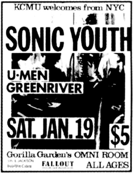 Flyer- Sonic Youth, U-men and Green River at Gorilla Gardens 01/19/85