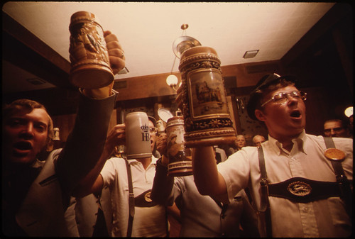 Beer Steins Are Raised as the Concord Singers Practice Singing German Songs in New Ulm, Minnesota...