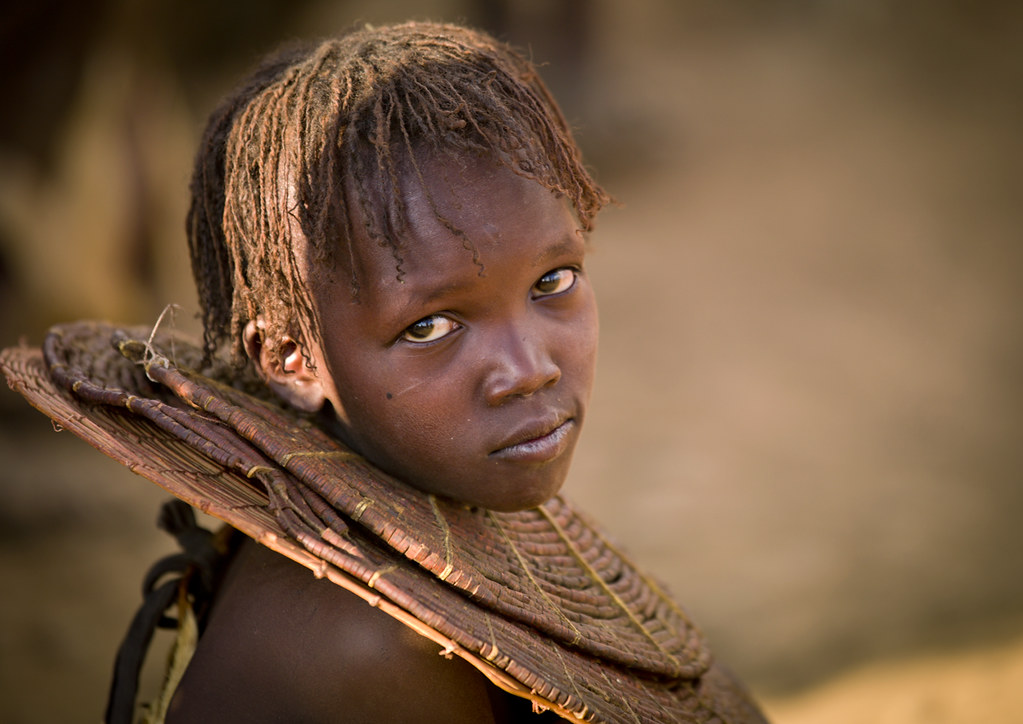 Pokot girl with traditional necklace - Kenya