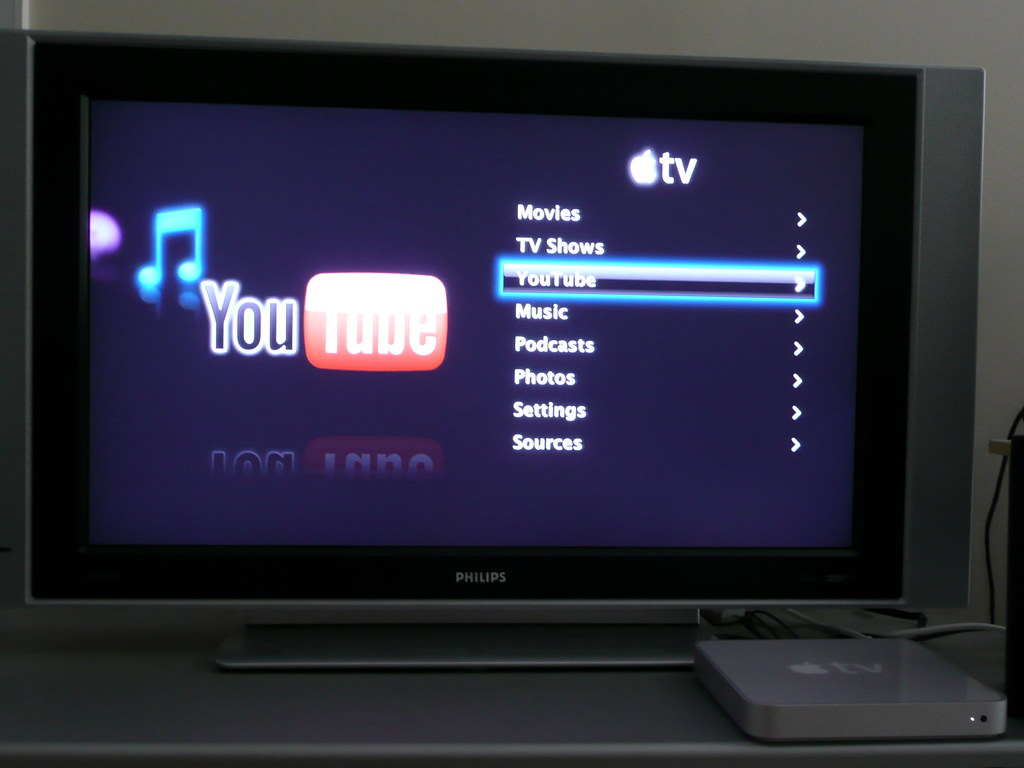 YouTube on the Apple TV main menu