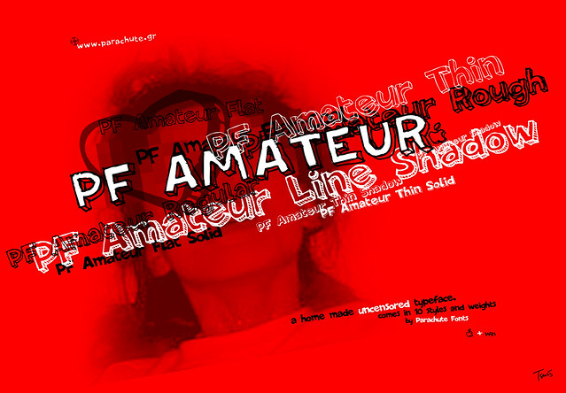 PF Amateur: A sexy font. From the Parachute Type & Image Corporation site.