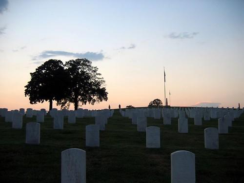 Cemetery evening sky