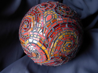 Cynthia's Red and Orange Gazing Ball