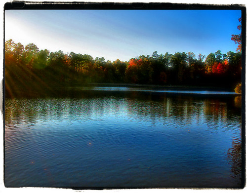 blue autumn light sunset lake reflection tree fall nature water landscape nc glow seasons north raleigh beam lynn carolina heavenly chrysti abigfave