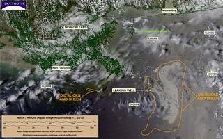 Deepwater Horizon Oil Spill – MODIS/Aqua Detail (with interpretation), May 11, 2010