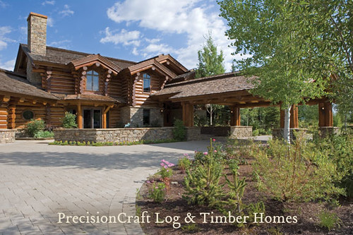 Front view of a Handcrafted Log Home | Jackson Hole, Wyoming | by PrecisionCraft Log Homes