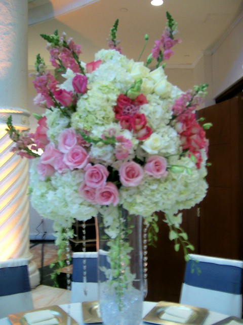 Rose orchid and hydrangea centerpiece ritz wedding