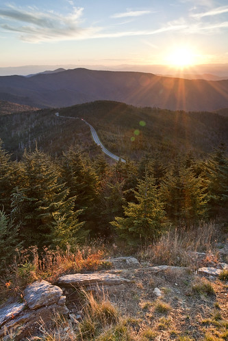 trees sunset sun mountain black mountains set canon nc high view asheville top north peak mount evergreen carolina fir mitchell elevation spruce highest 6684