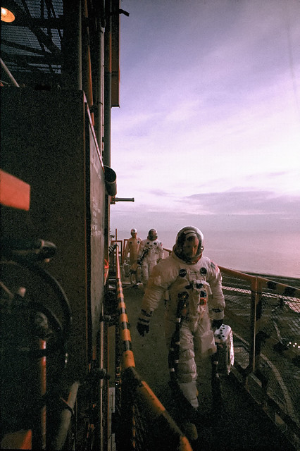 Apollo 11 crew head toward Command Module prior to launch on their mission to the moon, July 16, 1969, by Ralph Morse