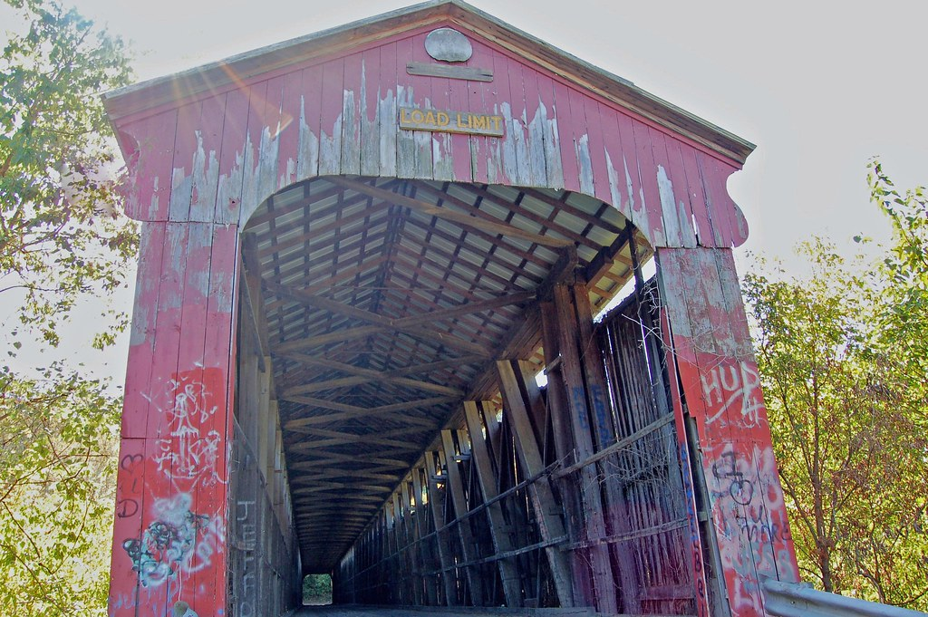 Howe Truss Double Span,  Indiana, Lawrence County, Williams Covered Bridge (11,065)