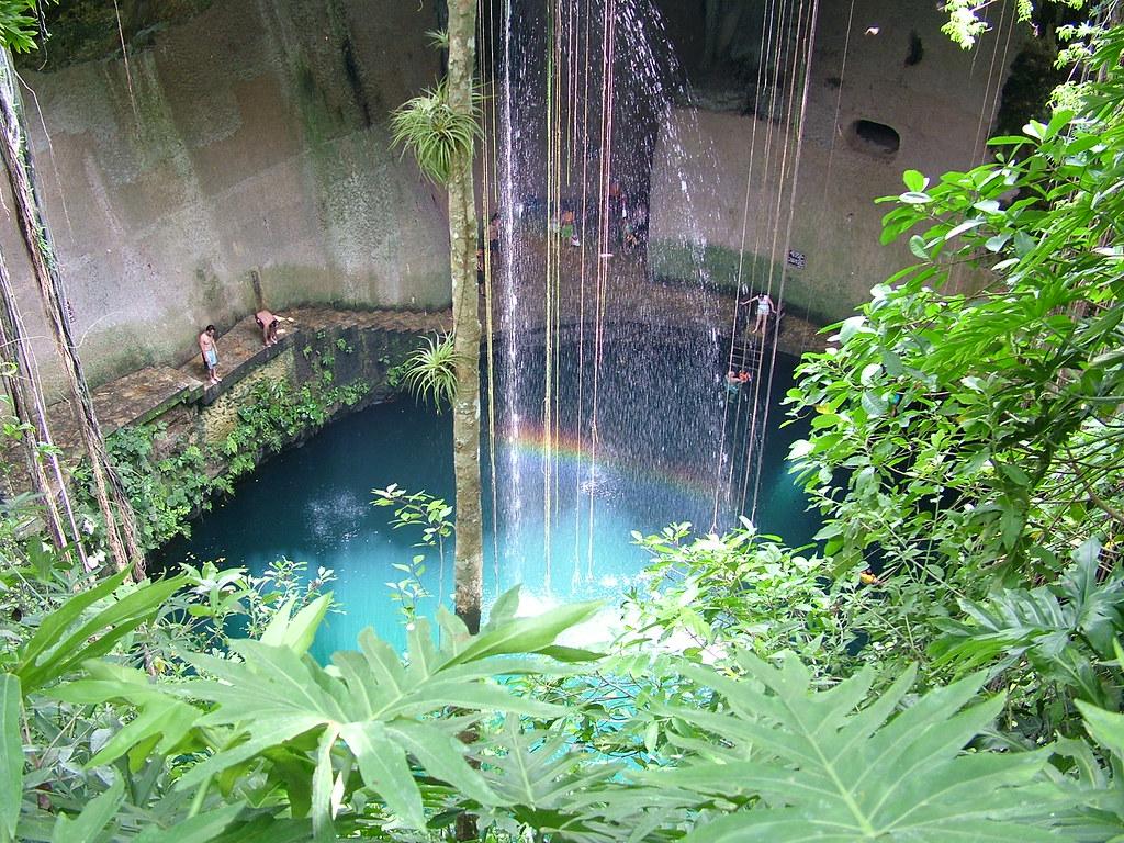 セノーテの泉を上部から眺めた風景