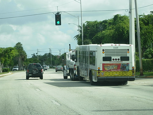 Broward County Transit Bus Gets Towed