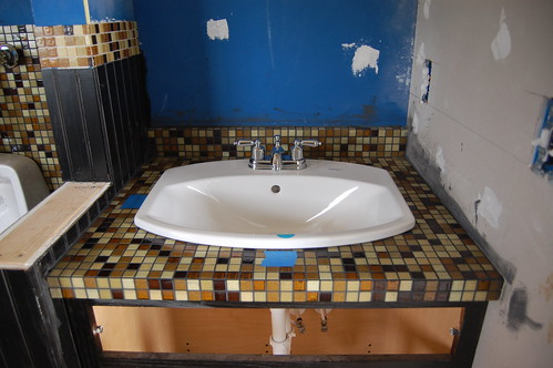 Tile 101 how to build tile counters diydiva for Mosaic tile vanity top