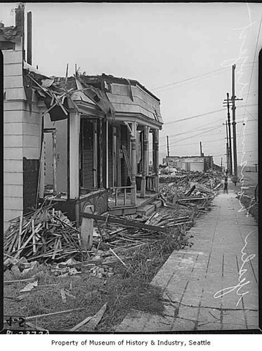 Houses being demolished for Yesler Terrace housing project, Seattle, 1940