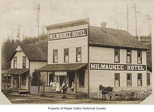 milwaukee hotel and bakery exterior showing people outside. Black Bedroom Furniture Sets. Home Design Ideas