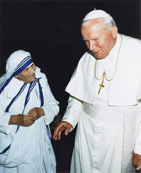 Blessed Mother Teresa with Pope John Paul II