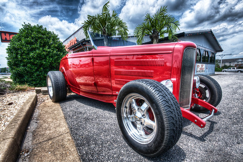 road red sky hot classic car wheel photography nikon vintagecar shiny noir day driving view angle cloudy low sigma tire chrome hotrod vehicle customized rod motor collectors past rider hdr streetrod oldfashioned bybilldickinsonskynoircom