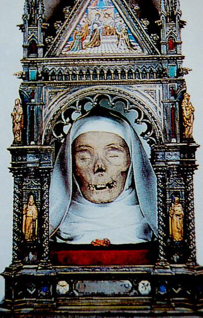 The mummified head of St. Catherine of Siena, Italy