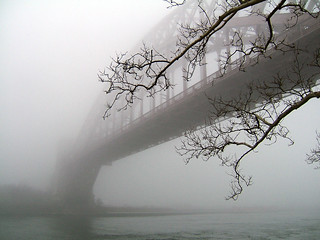 Hellgate  Bridge in Fog,       ASTORIA - Hell Gate Bridge