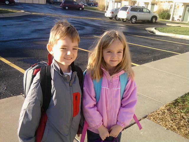 My cute kids ... E's jacket is new