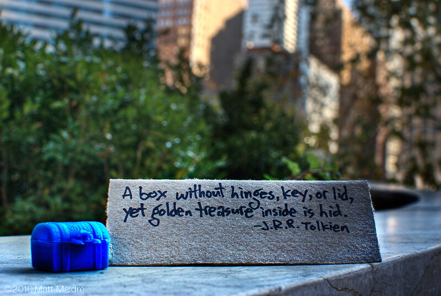Treasure quote in garden of Trump Tower