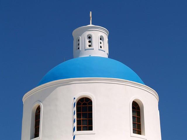 Blue Domed Greek Orthodox Church, Santorini (Thira).