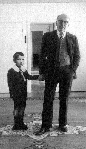 SAUL STEINBERG HOLDING HIS EIGHT-YEAR-OLD SELF BY THE HAND