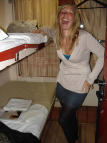 obviously, everything is funny in españa... especially the size of our night train cabin!