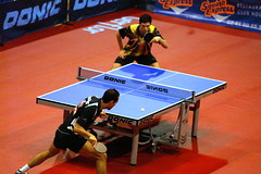 para table tennis(0.0), individual sports(1.0), table tennis(1.0), sports(1.0), ball game(1.0), racquet sport(1.0),