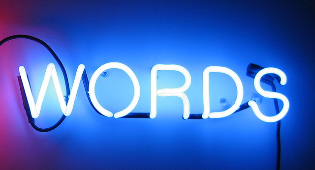 neon sign reading words