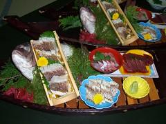 Japanese cuisine;Sashimi on the ship; very fresh raw seafoods: Funamori: 船盛り