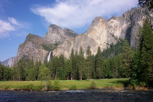 bridalveil falls and merced river