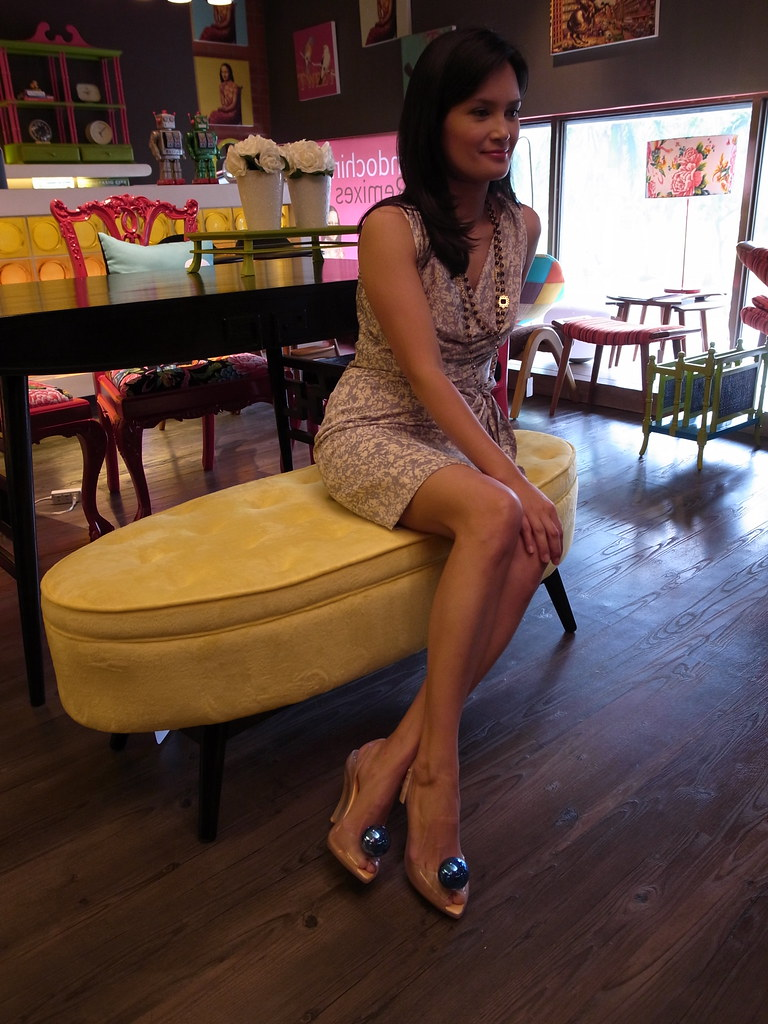 Wearing K&Company dress and Melissa shoes