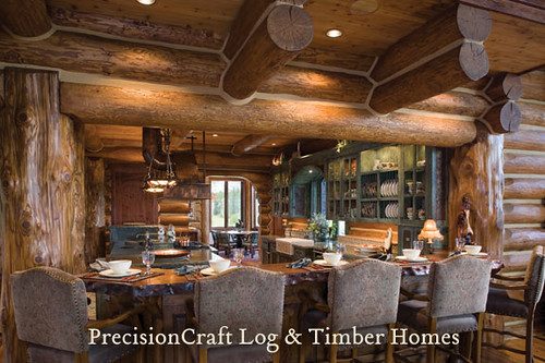 Custom Log Home Kitchen PrecisionCraft Hancrafted Log Homes
