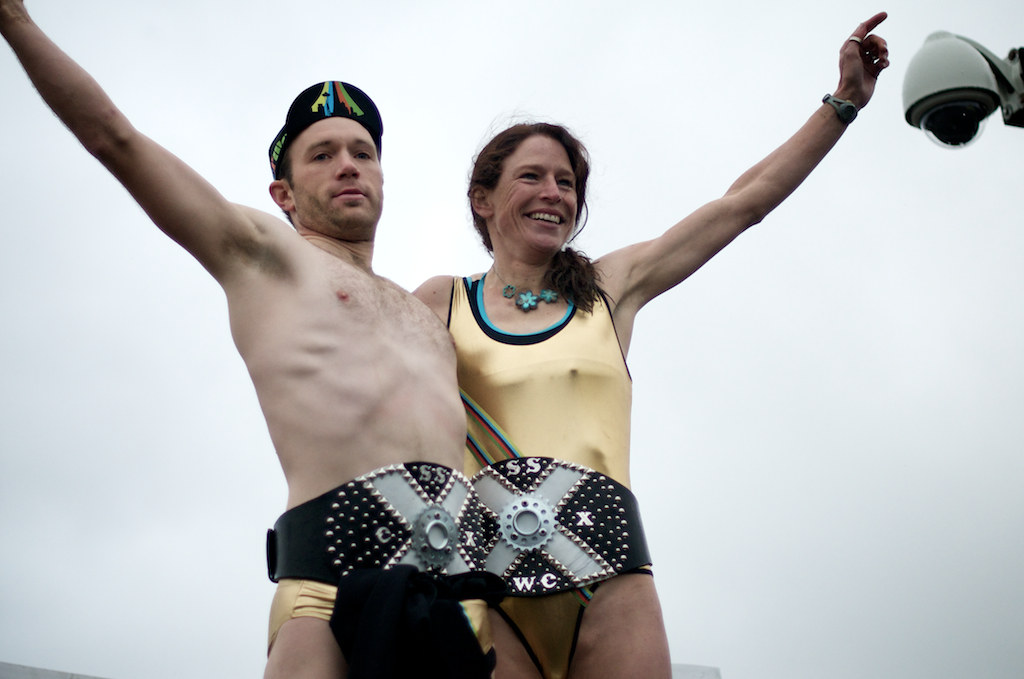 Winners of the 2010 Single Speed Cyclocross World Championships Drew MacKenzie and Wendy Williams.