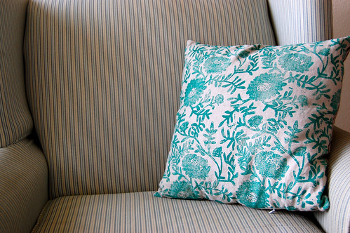 handprinted linen pillow, the flower side
