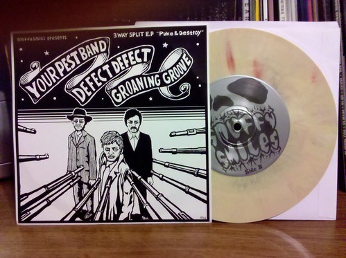 """Your Pest Band / Defect Defect / Groaning Grove - 3 Way Split 7"""" - Yellow Vinyl"""