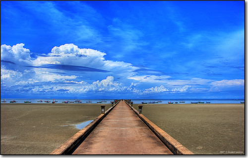 blue sea sky clouds thailand vanishingpoint sand jetty hdr 3xp 35faves 25faves chaolao aplusphoto