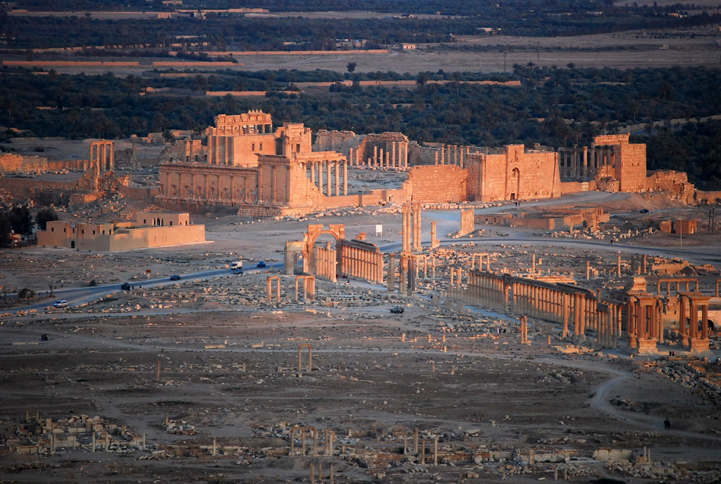 Sunset over Palmyra from the Qala'at ibn Maan castle, Syria