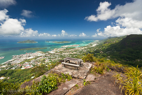 travel sea mountain holiday nature port bench landscape island seat victoria hike hut tropical seychelles viewpoint za tropics capitalcity glacis syc mahé troisfreres englishriver troisfrères variosonnart281635 morneseychelloisnationalpark