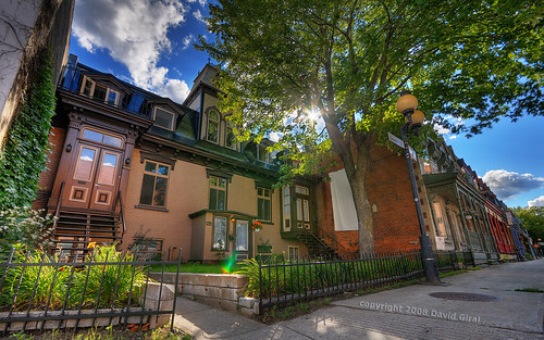 street old blue houses summer sky sun canada de nikon afternoon cloudy quebec plateau montreal sigma sunny d200 typical 1020mm rue montroyal hdr sigma1020mm 10mm photomatix sigma1020 grandpré nikond200 7xp tthdr copyrightdgiral davidgiral