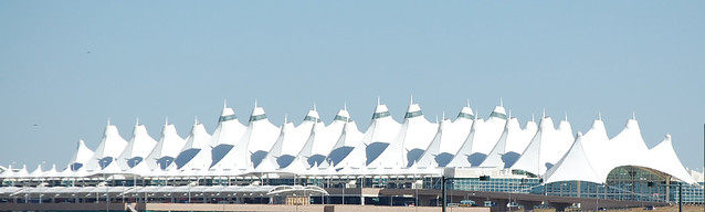 View of the Denver Airport from Avis Car Rental Red Carpet Area