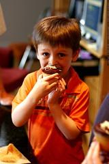 nick having a cupcake for dessert    MG 0925