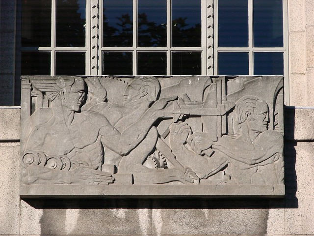 Art deco stone mural flickr photo sharing for Art deco tile mural